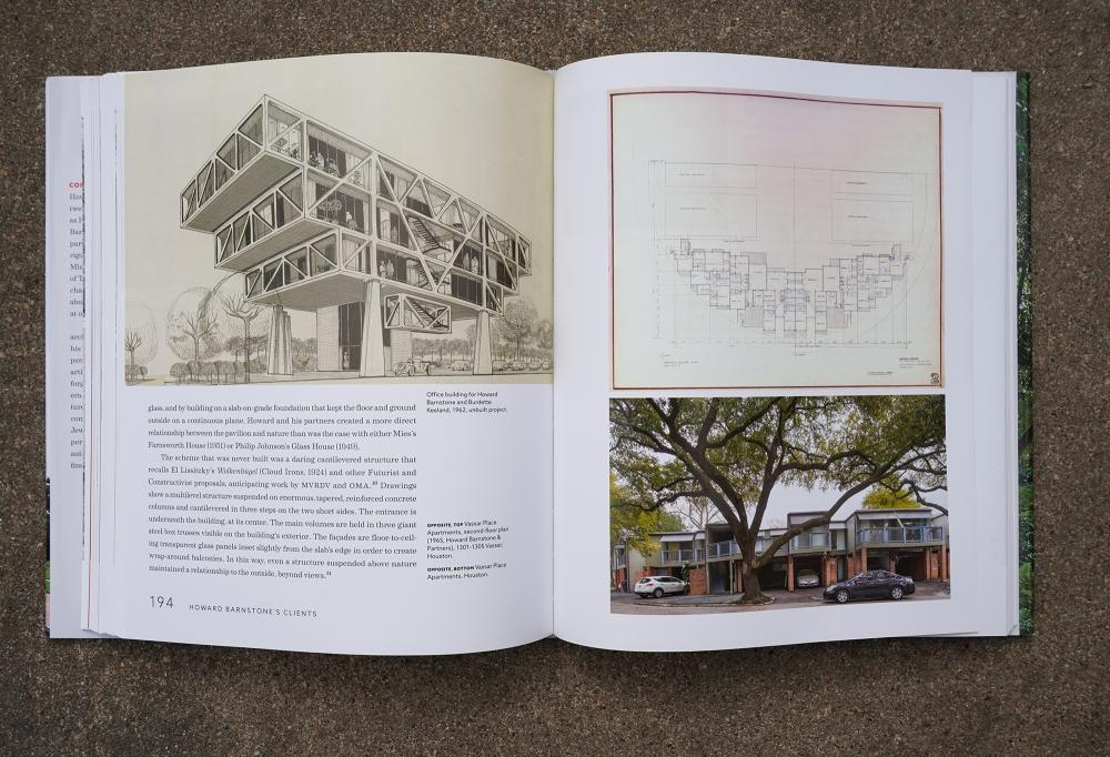 """A spread from """"Making Houston Modern"""" which includes a rendering of an office building (1962) and a plan and image of Vassar Place Apartments (1965)."""