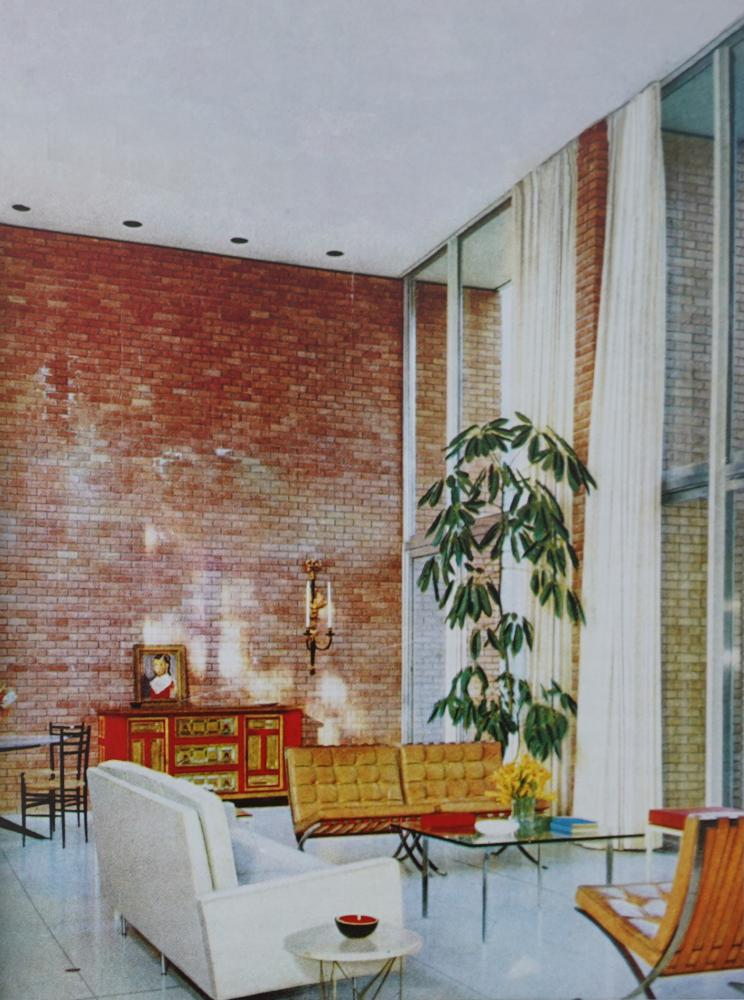 """Gordon House, double-height living room. Completed by Bolton & Barnstone in 1955. Photograph by Ulrich Meisel. As reproduced in """"Making Houston Modern."""""""