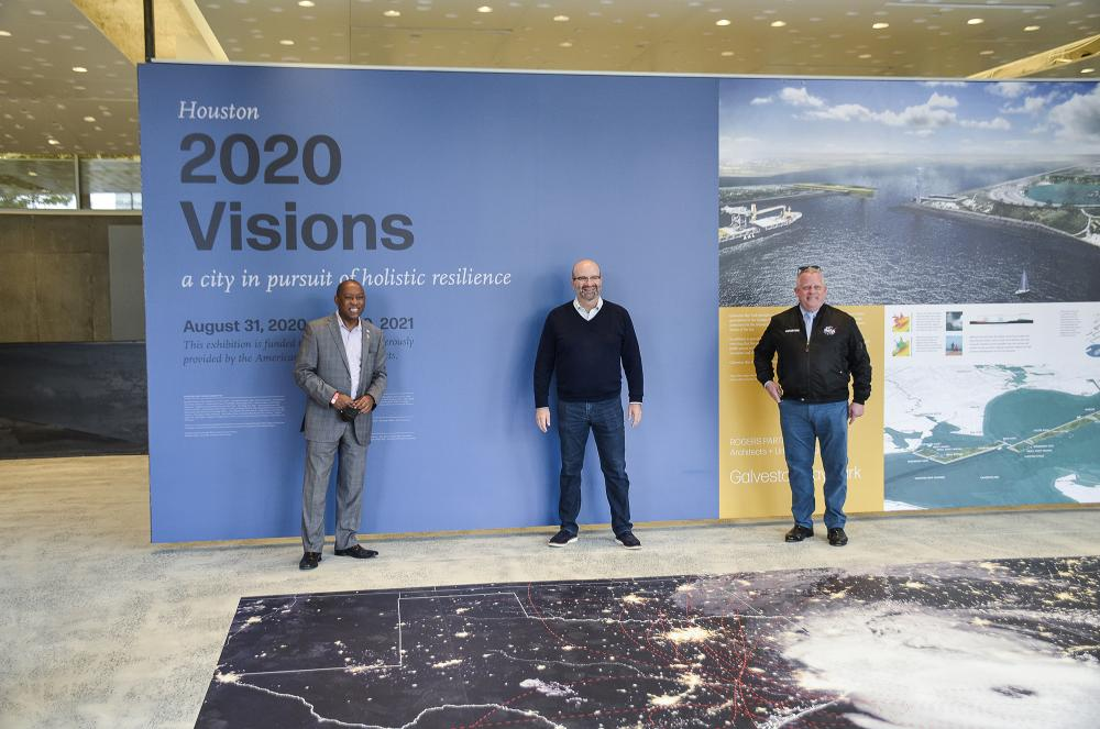 """Mayor Sylvester Turner (left), AIA Houston Executive Director Rusty Bienvenue (center), and City Council Member David W. Robinson (right) at """"Houston 2020 Visions."""" Courtesy Architecture Center Houston."""
