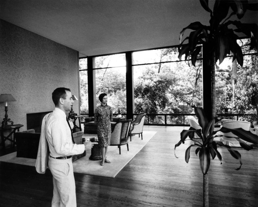 Howard and Gertrude Barnstone in the living room of the Maher House, June 25, 1965.