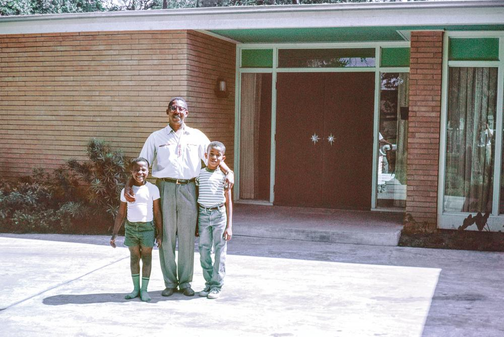 John S. Chase with Anthony (L) and John Jr. (R), Chase Residence, Houston, Texas, ca. 1959. Courtesy of the African American Library at the Gregory School.