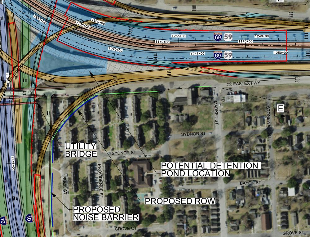 Proposed improvements, as of December 2019, to 10/45/69 that would require the removal of parts of the housing complex. Image via TxDOT project website.