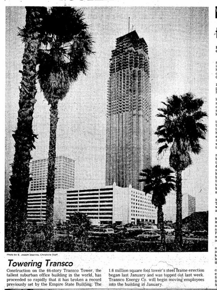 Transco Tower under construction, as seen in the Houston Chronicle.