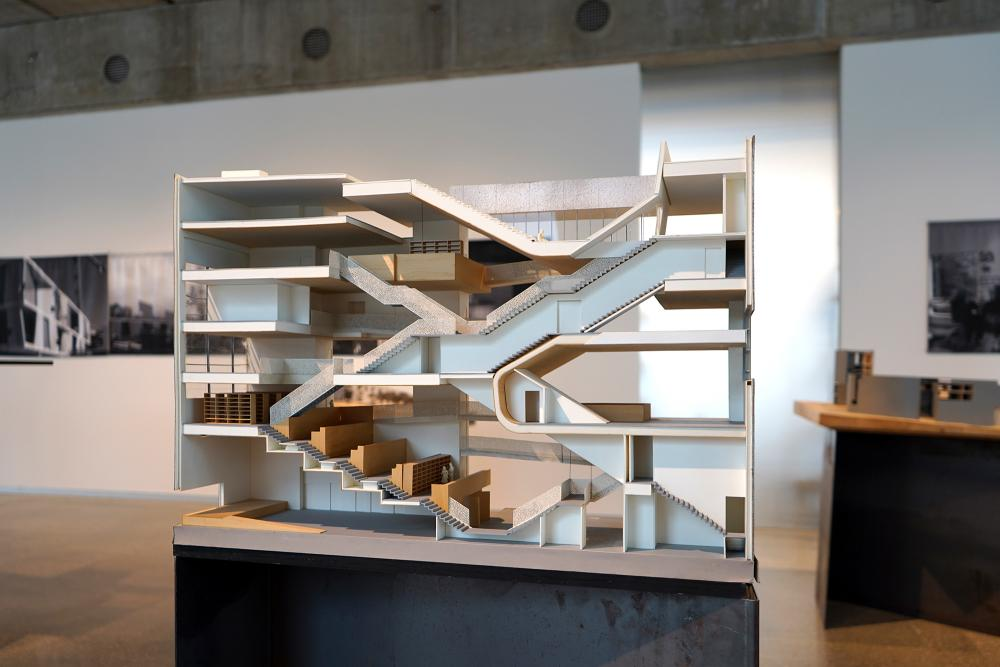 Sectional Study Model, Hunters Point Community Library, museum board, plywood, laser-cut paper, cork, and silver paint, 2012.