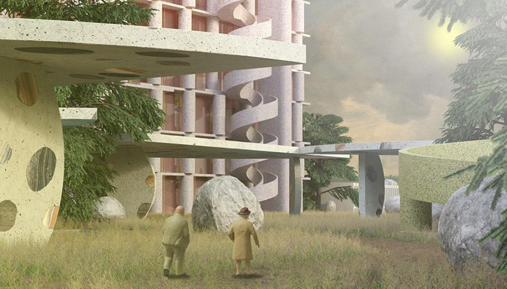 Perspective of Paul Preissner Architects's Tripoli Special Economic Zone proposal. Via Paul Preissner Architects.