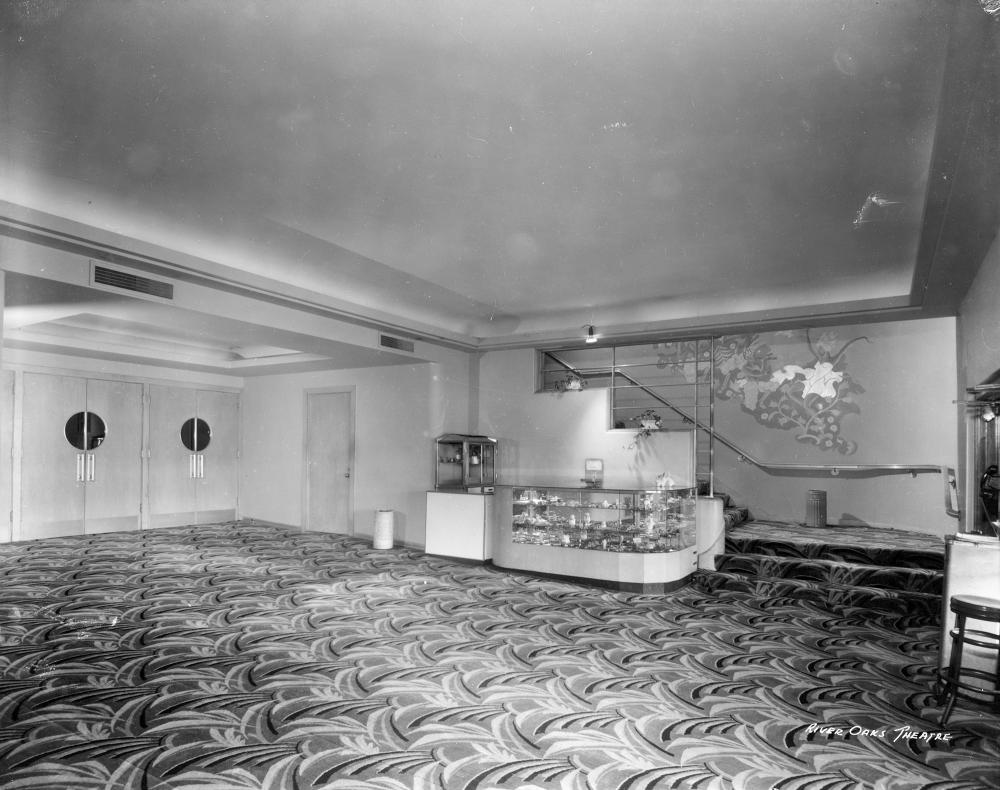The original lobby of the River Oaks Theatre. RGD0006N-1986-May-14 frame #8, Houston Public Library, Houston Metropolitan Research Center.
