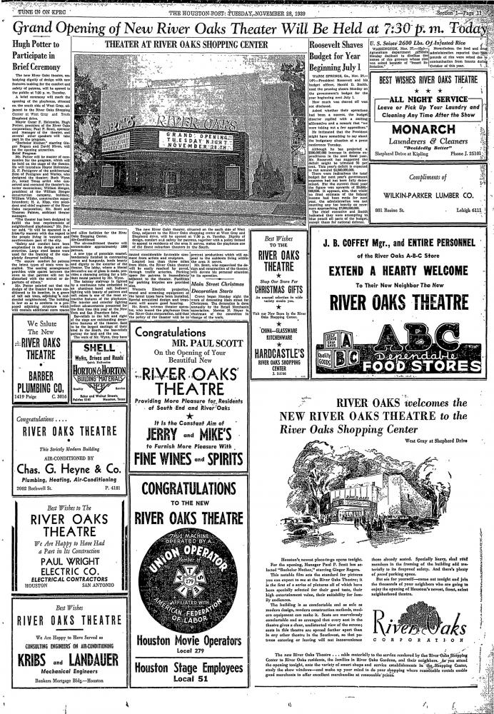 The full front page of the Houston Post on Tuesday, November 28, 1939, when the River Oaks Theatre opened.