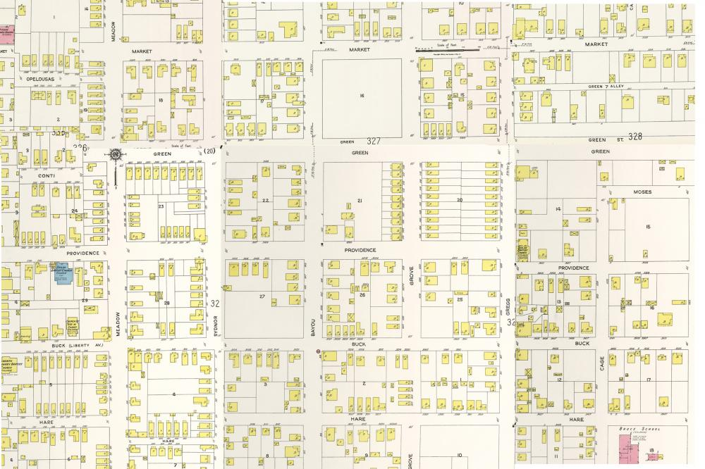 Kelley Courts and surrounding area as documented in the 1924 Sanborn fire insurance maps. Image compiled from individual maps. Original maps courtesy The Perry-Castañeda Library Map Collection, the University of Texas Libraries.