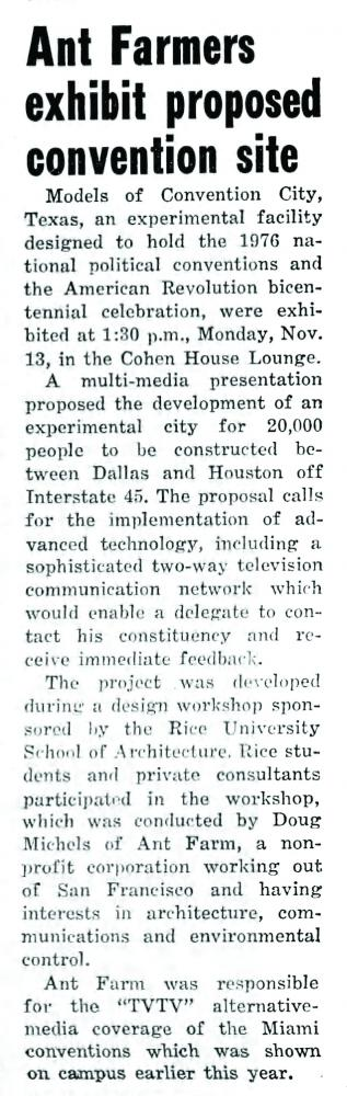 """Coverage of """"Convention City"""" (1972) by Ant Farm in the Rice Thresher, November 16, 1972, page 5."""