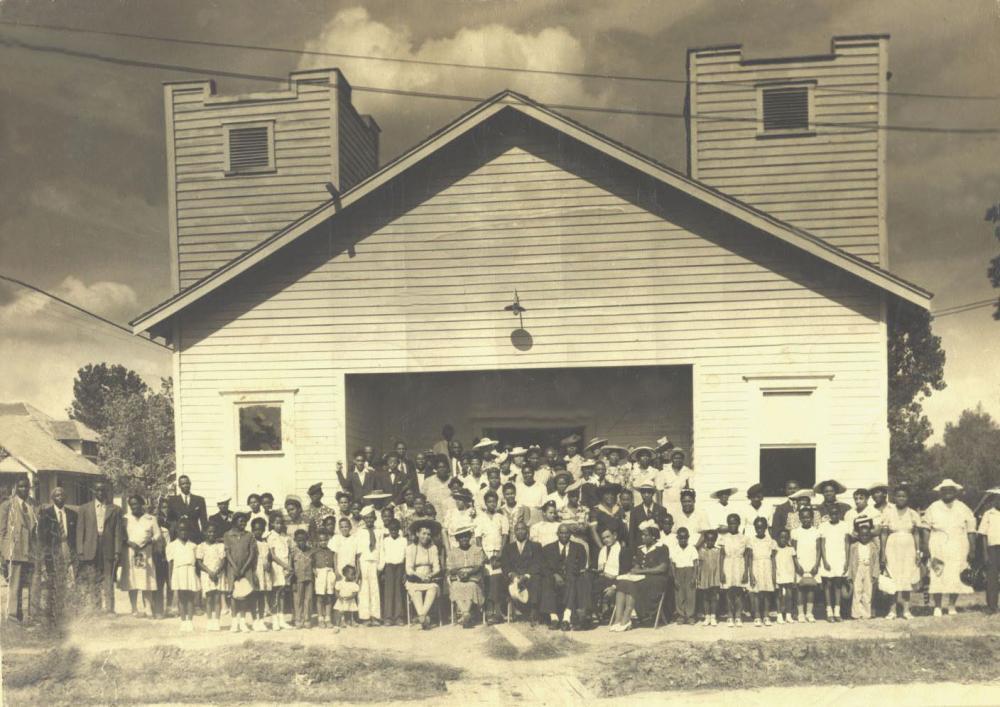 Historic image of True Light Missionary Baptist Church congregation.