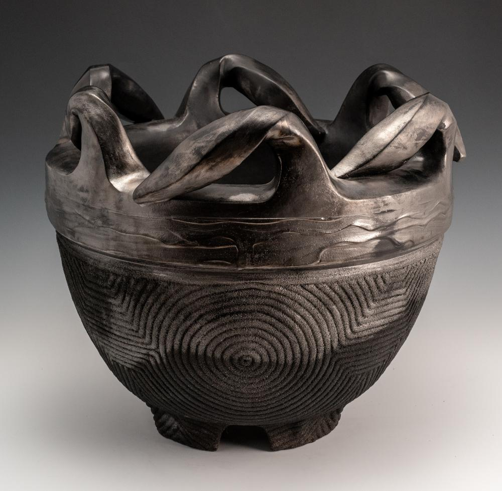 """James C. Watkins, """"Guardian,"""" 2015. Low saggar-fired double-walled caldron. 18 x 21 inches. Photo by artist. Courtesy Houston Center for Contemporary Craft."""