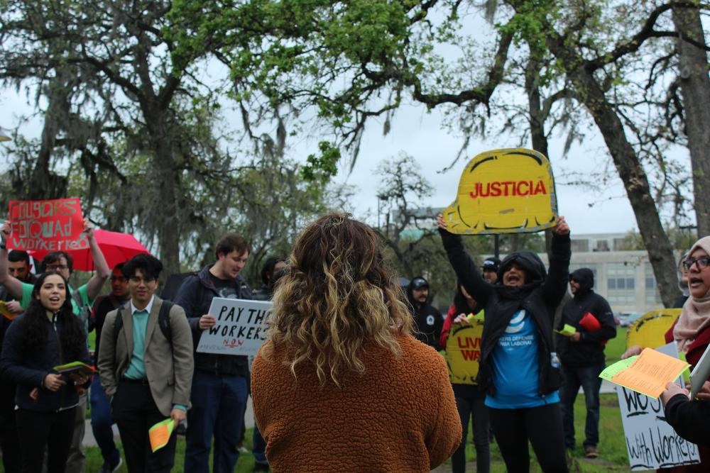 Demonstrators during a WDP-led protest at the University of Houston in February 2020. Courtesy Workers Defense Project.