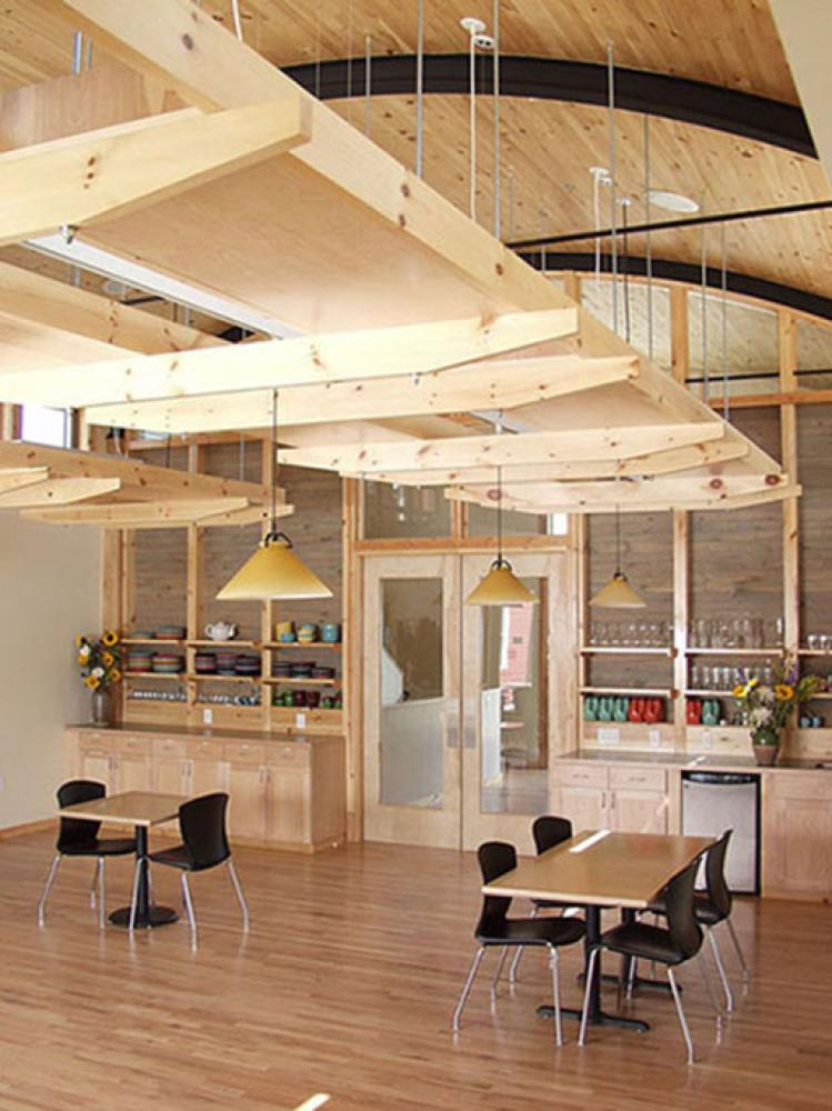 The dining room in the Common House at Wild Sage Cohousing Community in Boulder, designed by Caddis Collective.