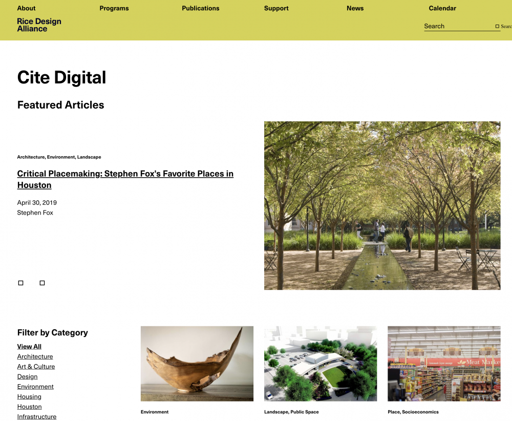 Image of website with Cite Digital