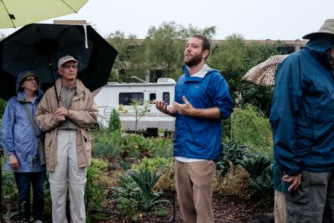 Daniel Garcia-Prats leads a tour of Finca Tres Robles. Photo: Tom Flaherty.